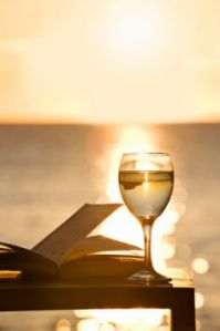 wine and book sunset